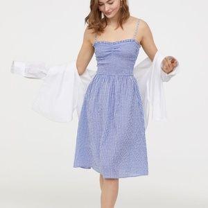 H&M Blue white Gingham PICNIC dress lovely 14